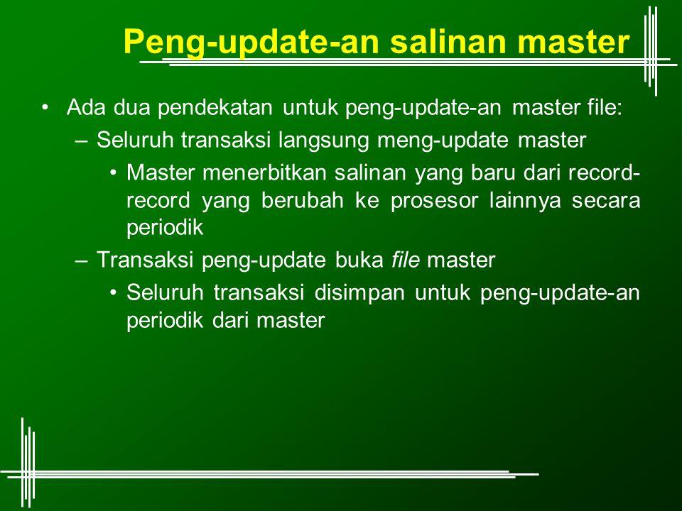 Peng-update-an salinan master Ada dua pendekatan untuk peng-update-an master file: –Seluruh transaksi langsung meng-update master Master menerbitkan s