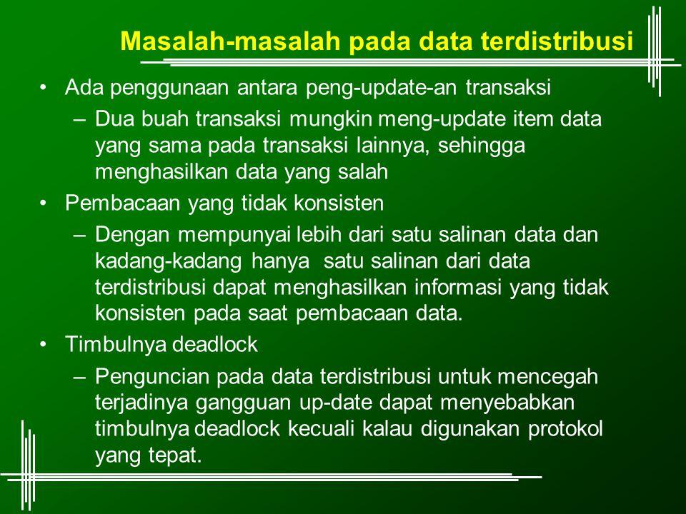 Masalah-masalah pada data terdistribusi Ada penggunaan antara peng-update-an transaksi –Dua buah transaksi mungkin meng-update item data yang sama pad