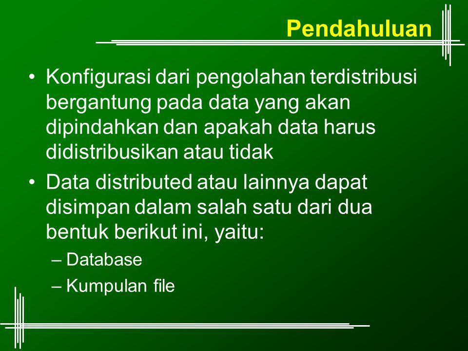Pendahuluan Konfigurasi dari pengolahan terdistribusi bergantung pada data yang akan dipindahkan dan apakah data harus didistribusikan atau tidak Data