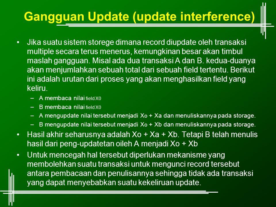 Gangguan Update (update interference) Jika suatu sistem storege dimana record diupdate oleh transaksi multiple secara terus menerus, kemungkinan besar
