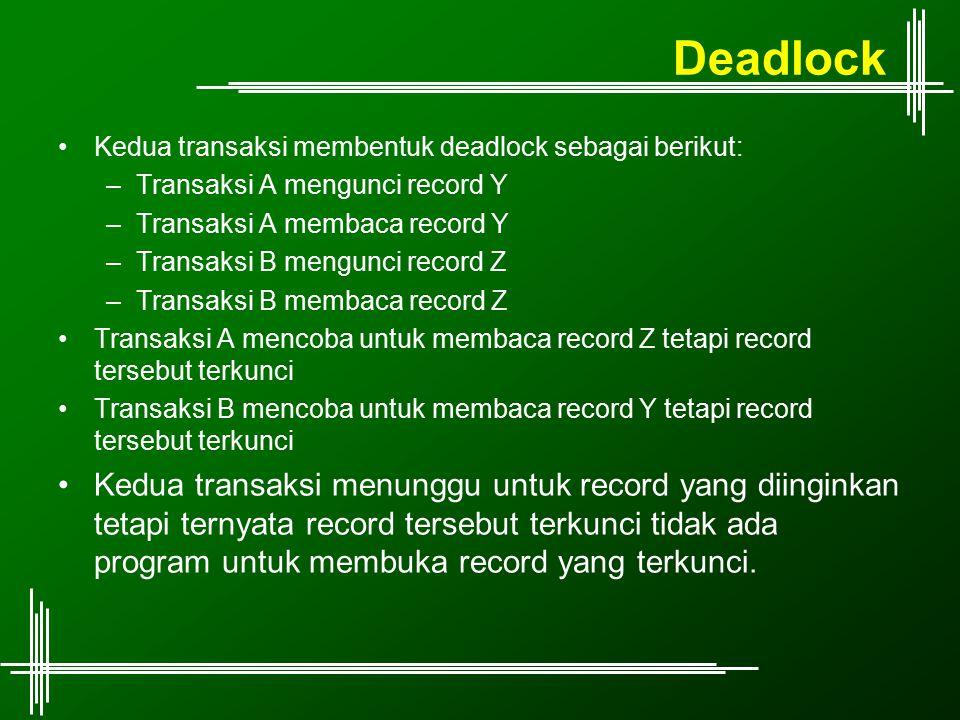 Deadlock Kedua transaksi membentuk deadlock sebagai berikut: –Transaksi A mengunci record Y –Transaksi A membaca record Y –Transaksi B mengunci record