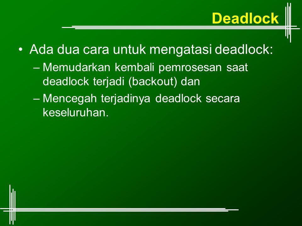 Deadlock Ada dua cara untuk mengatasi deadlock: –Memudarkan kembali pemrosesan saat deadlock terjadi (backout) dan –Mencegah terjadinya deadlock secar