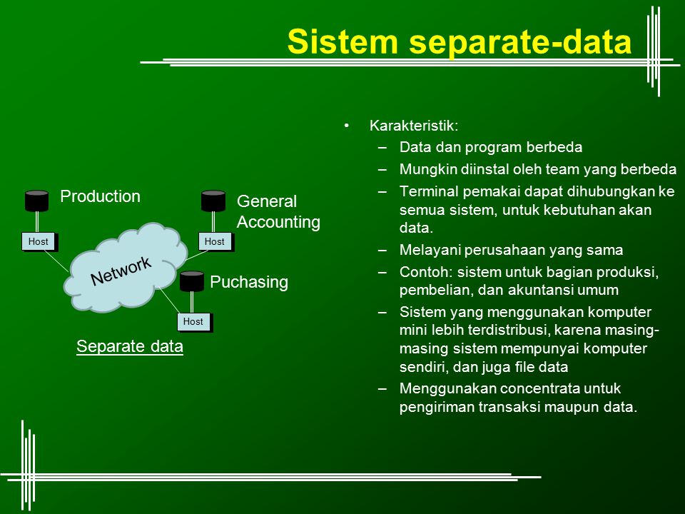 Sistem separate-data Karakteristik: –Data dan program berbeda –Mungkin diinstal oleh team yang berbeda –Terminal pemakai dapat dihubungkan ke semua si