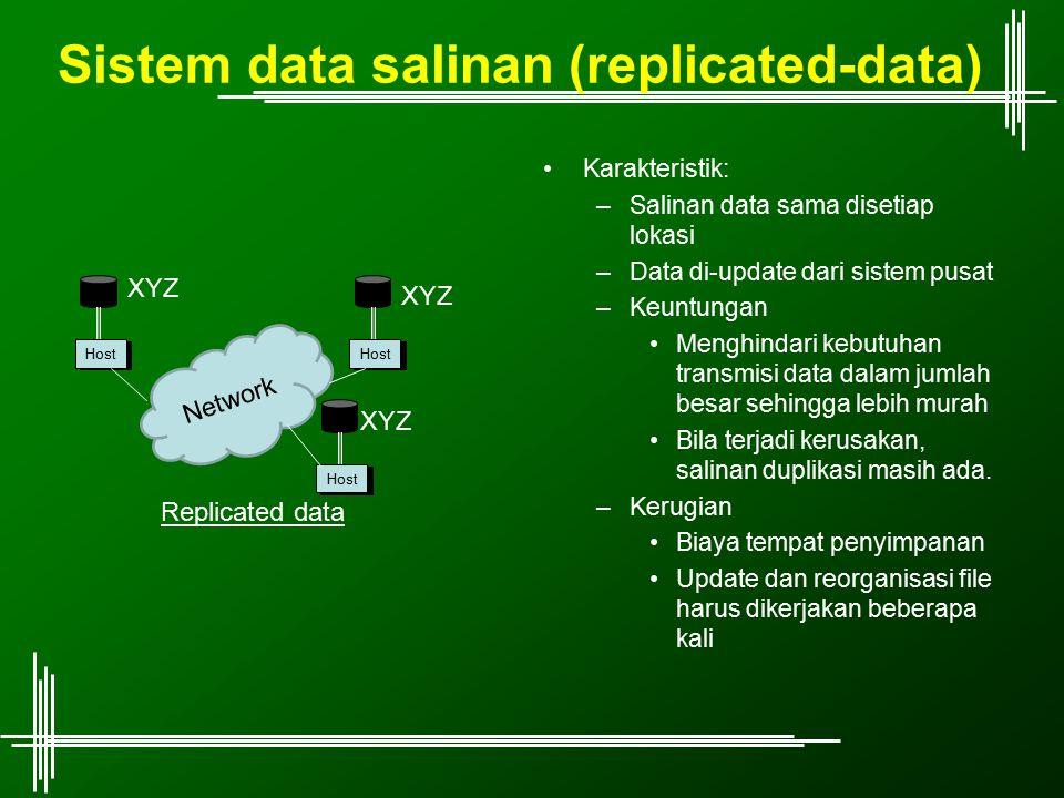 Sistem data salinan (replicated-data) Karakteristik: –Salinan data sama disetiap lokasi –Data di-update dari sistem pusat –Keuntungan Menghindari kebu