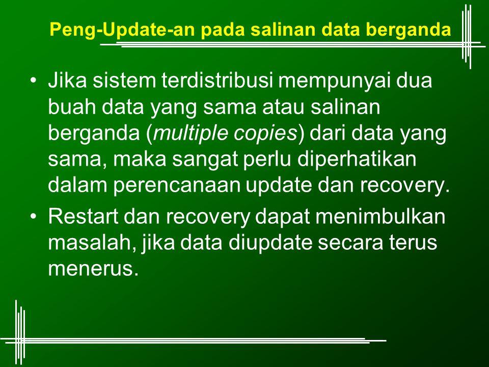 Peng-Update-an pada salinan data berganda Jika sistem terdistribusi mempunyai dua buah data yang sama atau salinan berganda (multiple copies) dari dat