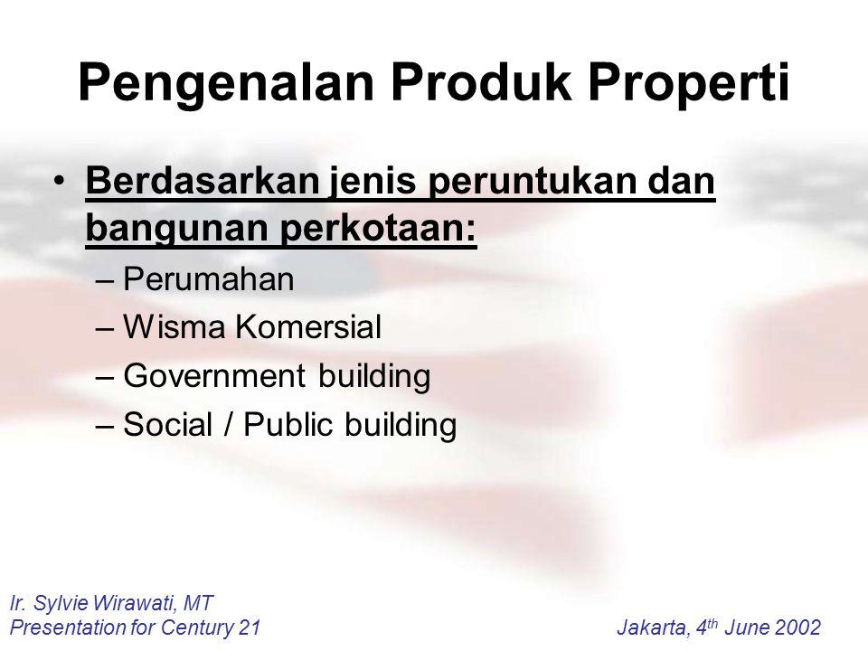Ir. Sylvie Wirawati, MT Presentation for Century 21Jakarta, 4 th June 2002 Pengenalan Produk Properti Berdasarkan jenis peruntukan dan bangunan perkot