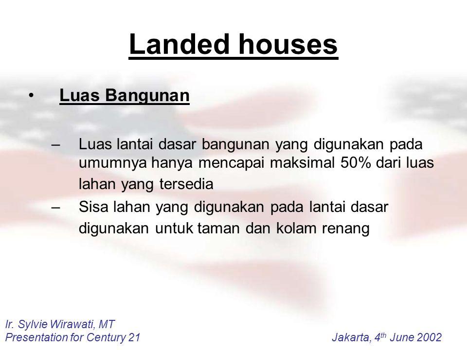 Ir. Sylvie Wirawati, MT Presentation for Century 21Jakarta, 4 th June 2002 Landed houses Luas Bangunan –Luas lantai dasar bangunan yang digunakan pada