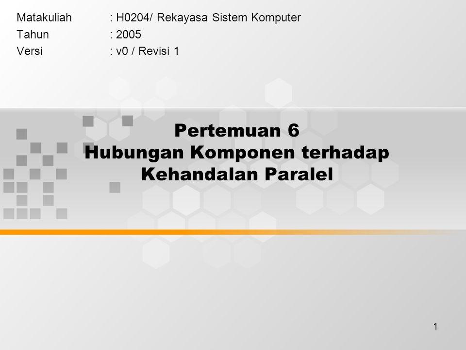 1 Pertemuan 6 Hubungan Komponen terhadap Kehandalan Paralel Matakuliah: H0204/ Rekayasa Sistem Komputer Tahun: 2005 Versi: v0 / Revisi 1