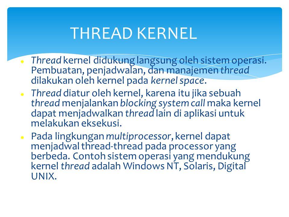 Thread kernel didukung langsung oleh sistem operasi. Pembuatan, penjadwalan, dan manajemen thread dilakukan oleh kernel pada kernel space. Thread diat