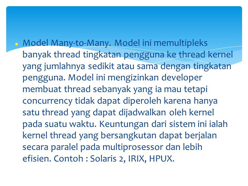 Model Many-to-Many. Model ini memultipleks banyak thread tingkatan pengguna ke thread kernel yang jumlahnya sedikit atau sama dengan tingkatan penggun