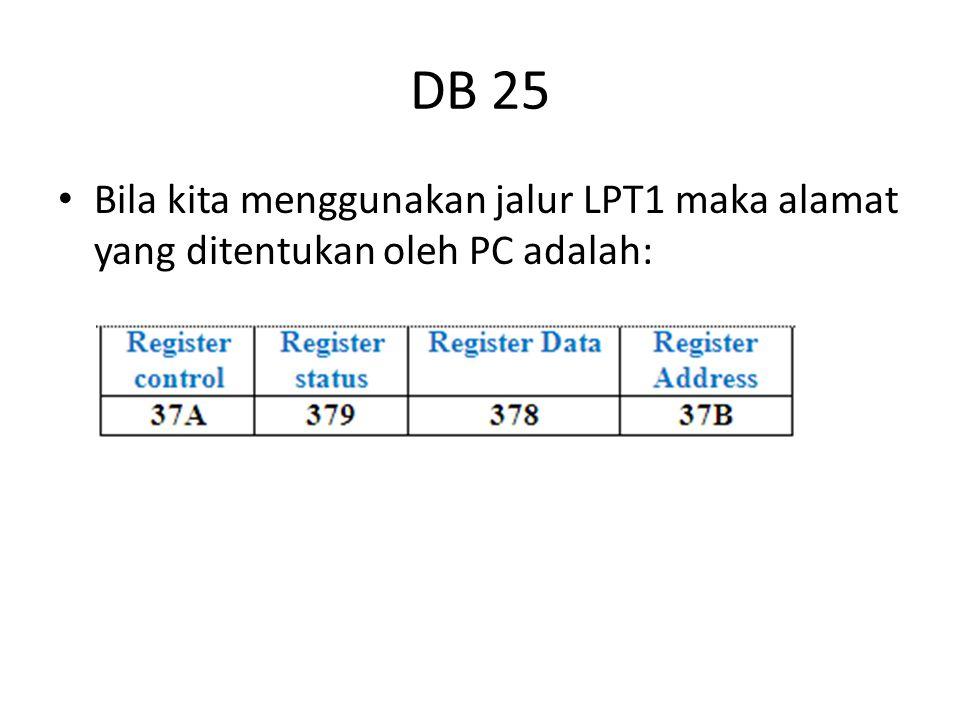 DB 25 Bila kita menggunakan jalur LPT1 maka alamat yang ditentukan oleh PC adalah: