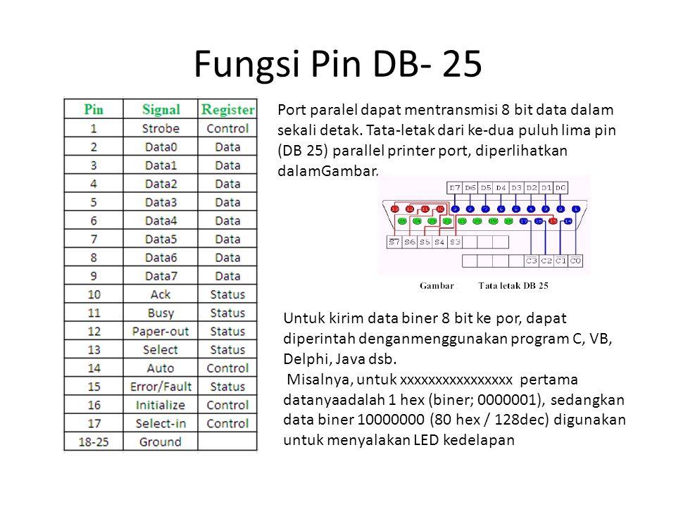 Fungsi Pin DB- 25 Port paralel dapat mentransmisi 8 bit data dalam sekali detak. Tata-letak dari ke-dua puluh lima pin (DB 25) parallel printer port,