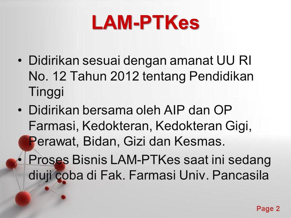 Powerpoint Templates Page 2 LAM-PTKes Didirikan sesuai dengan amanat UU RI No. 12 Tahun 2012 tentang Pendidikan Tinggi Didirikan bersama oleh AIP dan