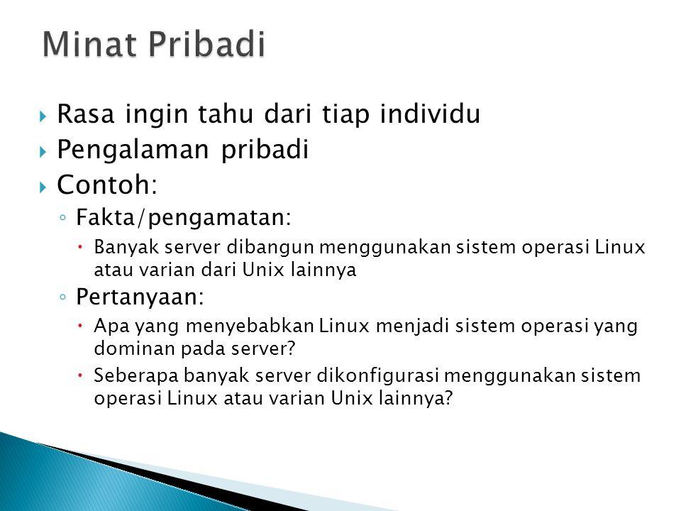  Rasa ingin tahu dari tiap individu  Pengalaman pribadi  Contoh: ◦ Fakta/pengamatan:  Banyak server dibangun menggunakan sistem operasi Linux atau