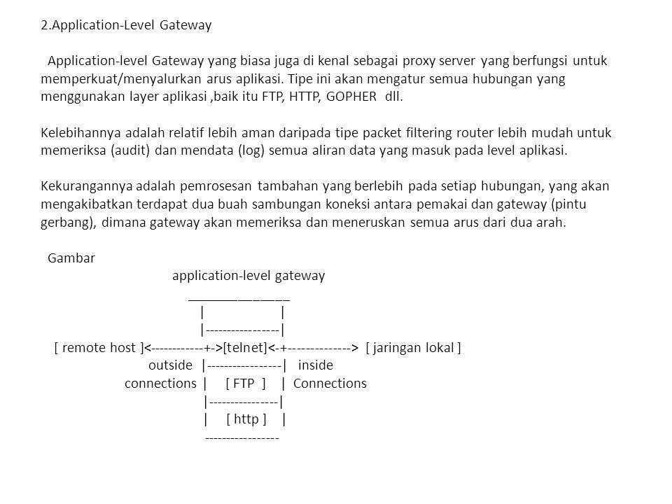 3.Circuit-level Gateway cara kerjanya : Gateway akan mengatur kedua hubungan tcp tersebut, 1 antara dirinya (gw) dengan TCP pada pengguna lokal (inner host) serta 1 lagi antara dirinya (gw) dengan TCP pengguna luar (outside host).