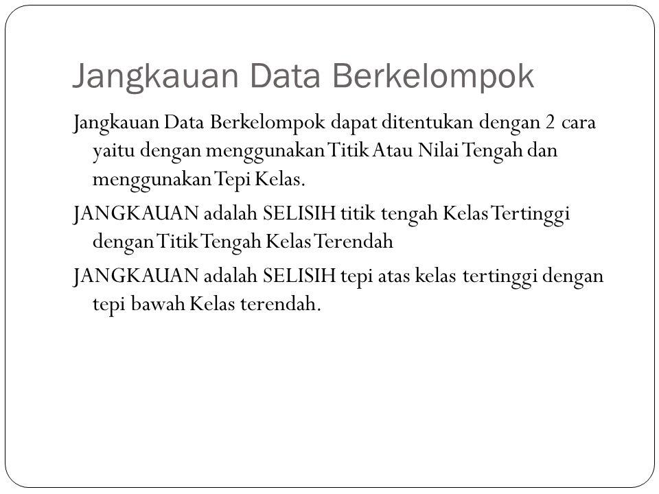Jangkauan Data Berkelompok Jangkauan Data Berkelompok dapat ditentukan dengan 2 cara yaitu dengan menggunakan Titik Atau Nilai Tengah dan menggunakan