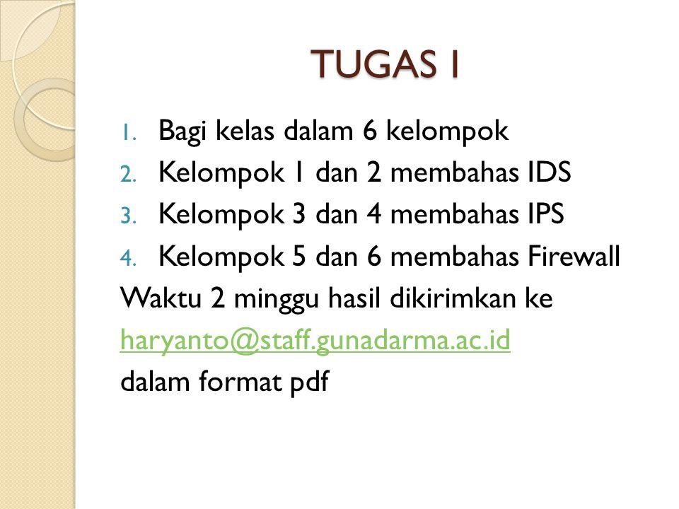 TUGAS I 1. Bagi kelas dalam 6 kelompok 2. Kelompok 1 dan 2 membahas IDS 3. Kelompok 3 dan 4 membahas IPS 4. Kelompok 5 dan 6 membahas Firewall Waktu 2