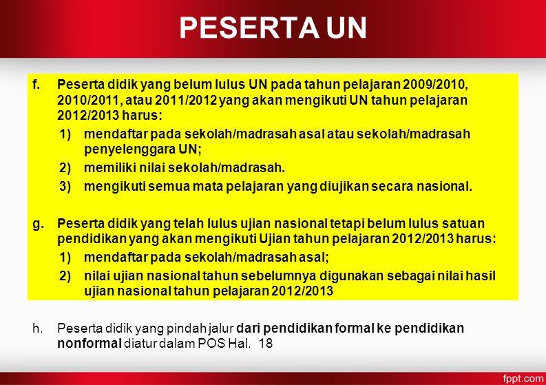 f.Peserta didik yang belum lulus UN pada tahun pelajaran 2009/2010, 2010/2011, atau 2011/2012 yang akan mengikuti UN tahun pelajaran 2012/2013 harus: 1)mendaftar pada sekolah/madrasah asal atau sekolah/madrasah penyelenggara UN; 2)memiliki nilai sekolah/madrasah.