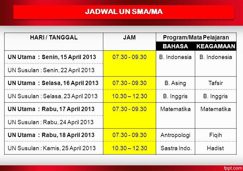 JADWAL UN SMA/MA HARI / TANGGALJAMProgram/Mata Pelajaran BAHASAKEAGAMAAN UN Utama : Senin, 15 April 201307.30 - 09.30B.
