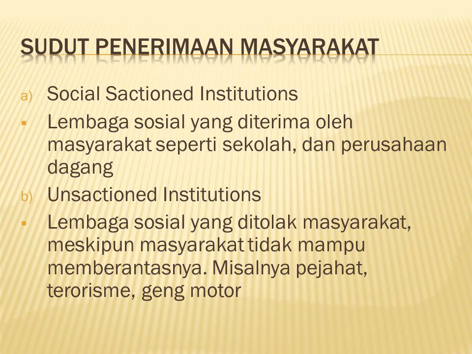 a) Social Sactioned Institutions  Lembaga sosial yang diterima oleh masyarakat seperti sekolah, dan perusahaan dagang b) Unsactioned Institutions  Lembaga sosial yang ditolak masyarakat, meskipun masyarakat tidak mampu memberantasnya.