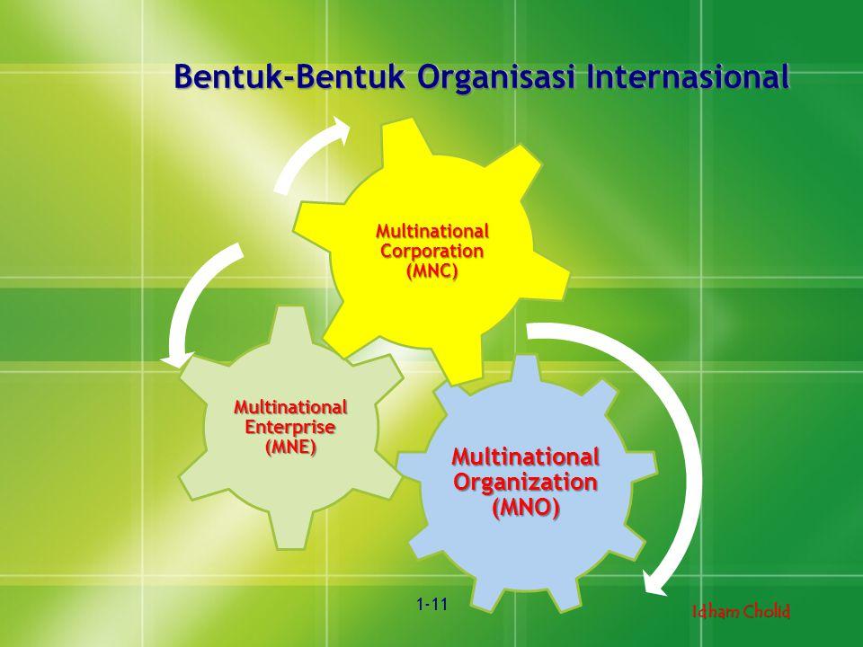 Idham Cholid 1-11 Bentuk-Bentuk Organisasi Internasional Multinational Organization (MNO) Multinational Enterprise (MNE) Multinational Corporation (MN