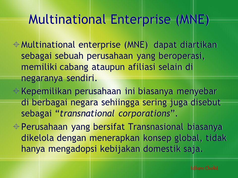 Idham Cholid Multinational Enterprise (MNE)  Multinational enterprise (MNE) dapat diartikan sebagai sebuah perusahaan yang beroperasi, memiliki caban