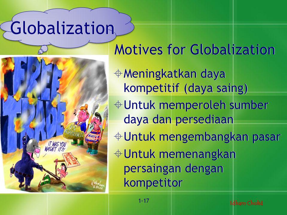 Idham Cholid 1-17 Globalization  Meningkatkan daya kompetitif (daya saing)  Untuk memperoleh sumber daya dan persediaan  Untuk mengembangkan pasar