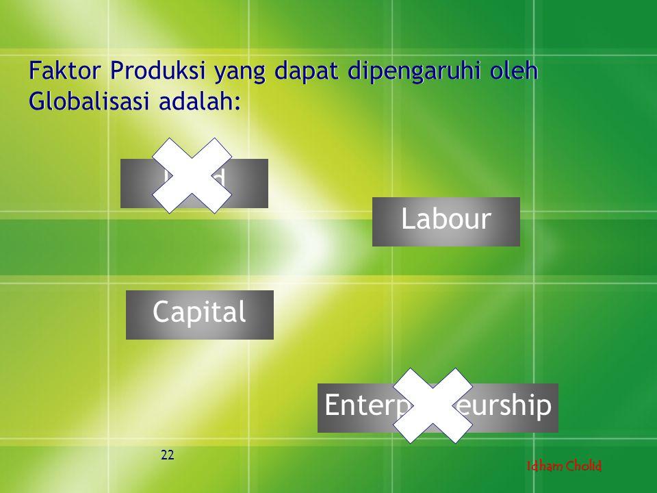 Idham Cholid 22 Faktor Produksi yang dapat dipengaruhi oleh Globalisasi adalah: Land Capital Enterpreneurship Labour