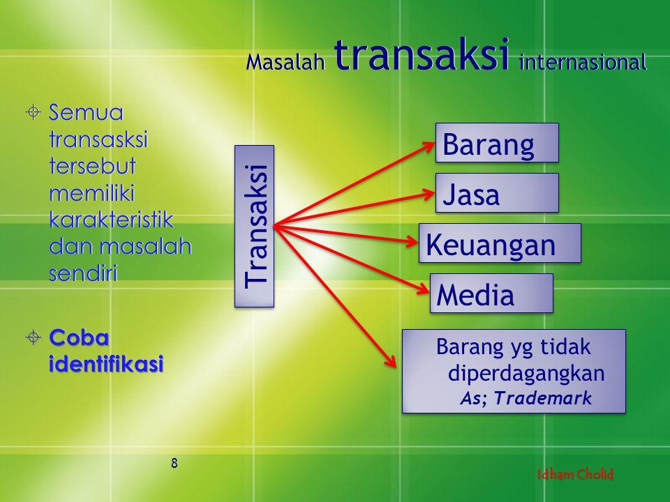 Idham Cholid Masalah transaksi internasional  Semua transasksi tersebut memiliki karakteristik dan masalah sendiri  Coba identifikasi  Semua transa