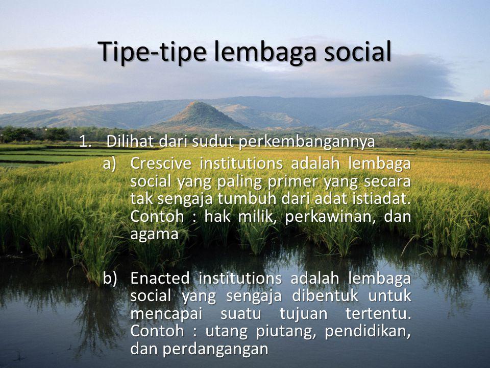 Tipe-tipe lembaga social 1.Dilihat dari sudut perkembangannya a)Crescive institutions adalah lembaga social yang paling primer yang secara tak sengaja