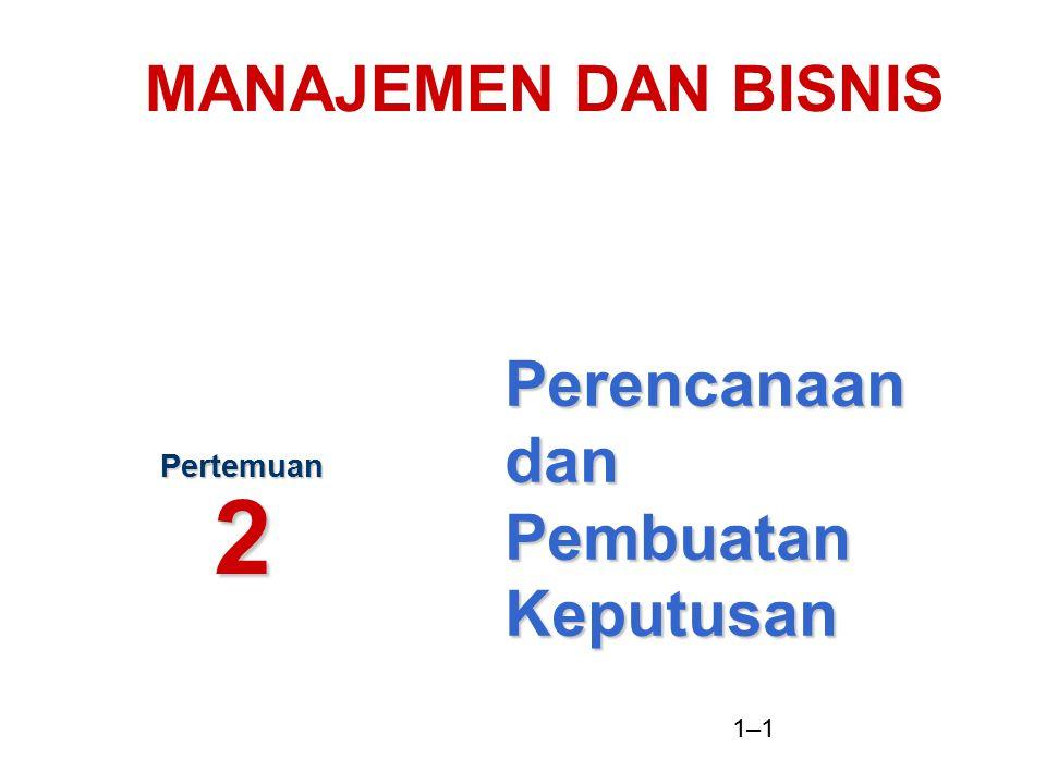 1–2 Pengertian Perencanaan Perencanaan : Proses dasar dimana manajemen memutuskan tujuan dan cara mencapainya What Where When Who How