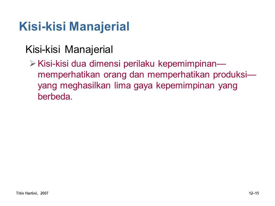 Titin Hartini, 200712–15 Kisi-kisi Manajerial  Kisi-kisi dua dimensi perilaku kepemimpinan— memperhatikan orang dan memperhatikan produksi— yang megh