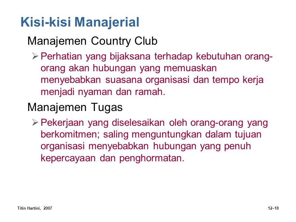 Titin Hartini, 200712–18 Kisi-kisi Manajerial Manajemen Country Club  Perhatian yang bijaksana terhadap kebutuhan orang- orang akan hubungan yang mem