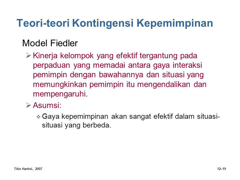 Titin Hartini, 200712–19 Teori-teori Kontingensi Kepemimpinan Model Fiedler  Kinerja kelompok yang efektif tergantung pada perpaduan yang memadai ant