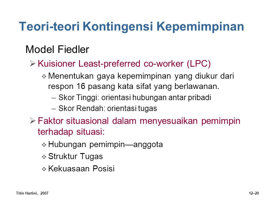 Titin Hartini, 200712–20 Teori-teori Kontingensi Kepemimpinan Model Fiedler  Kuisioner Least-preferred co-worker (LPC)  Menentukan gaya kepemimpinan