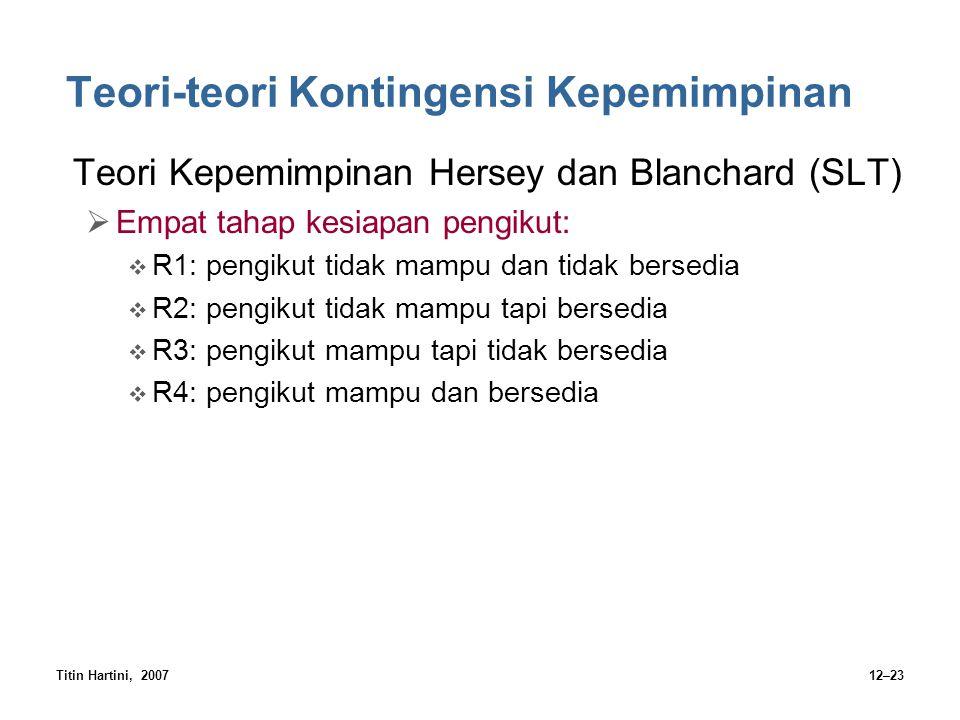 Titin Hartini, 200712–23 Teori-teori Kontingensi Kepemimpinan Teori Kepemimpinan Hersey dan Blanchard (SLT)  Empat tahap kesiapan pengikut:  R1: pen