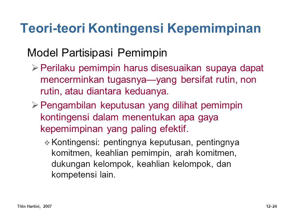 Titin Hartini, 200712–24 Teori-teori Kontingensi Kepemimpinan Model Partisipasi Pemimpin  Perilaku pemimpin harus disesuaikan supaya dapat mencermink