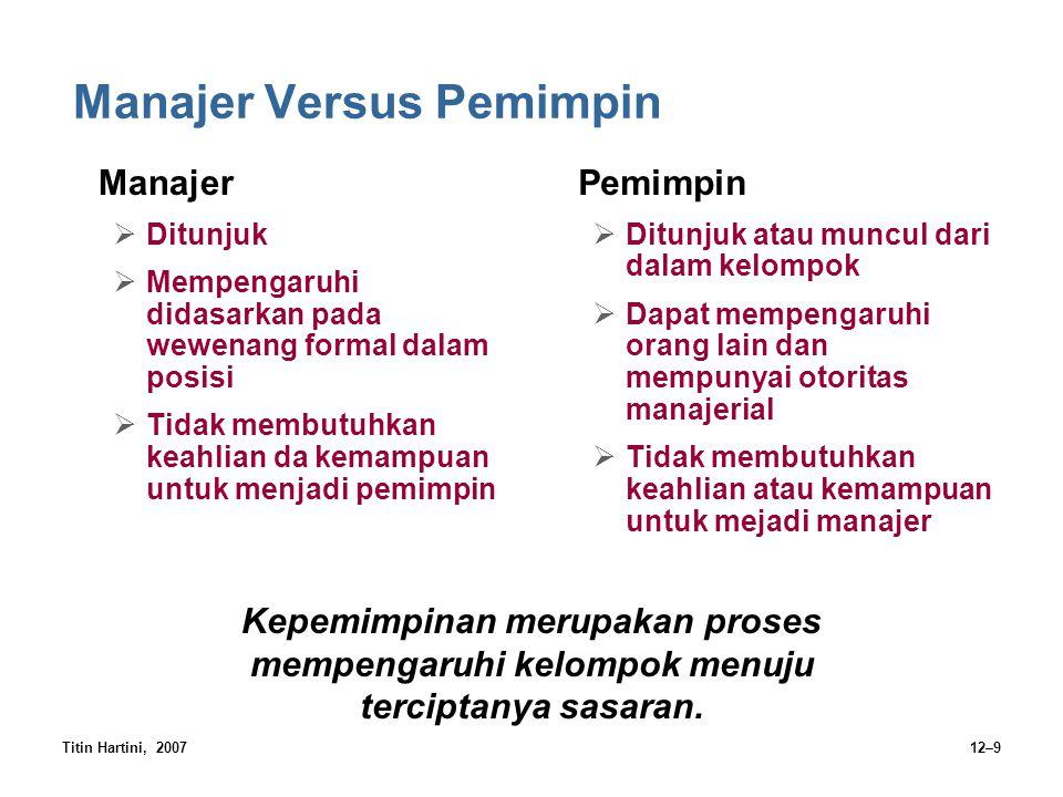 Titin Hartini, 200712–9 Manajer Versus Pemimpin Manajer  Ditunjuk  Mempengaruhi didasarkan pada wewenang formal dalam posisi  Tidak membutuhkan kea
