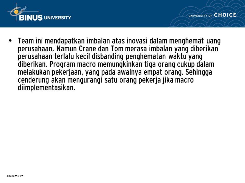 Bina Nusantara Team ini mendapatkan imbalan atas inovasi dalam menghemat uang perusahaan.
