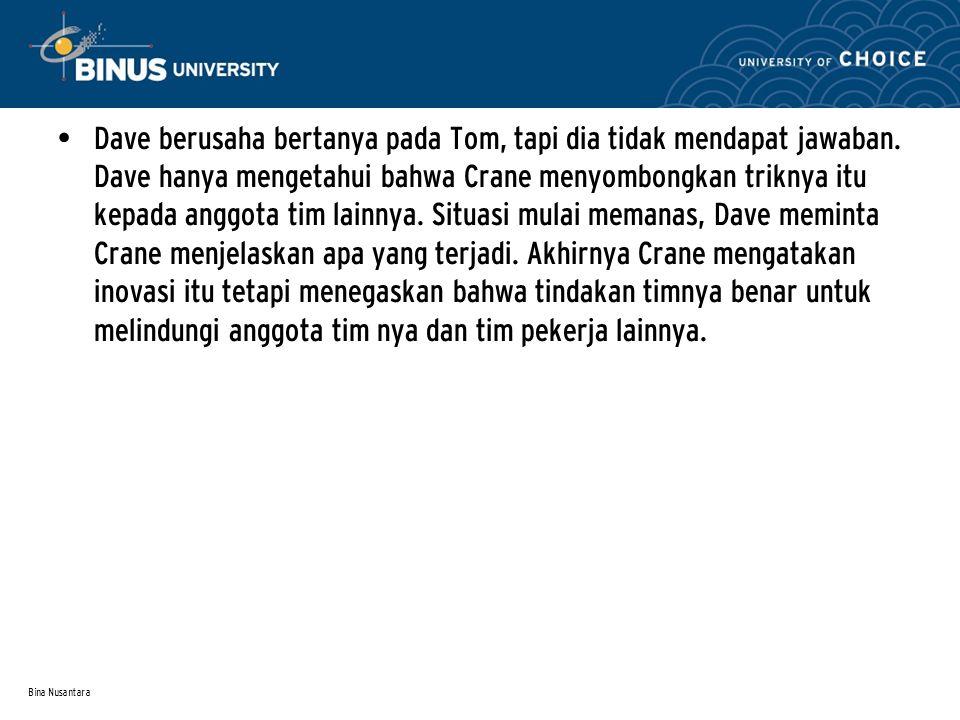 Bina Nusantara Dave berusaha bertanya pada Tom, tapi dia tidak mendapat jawaban.