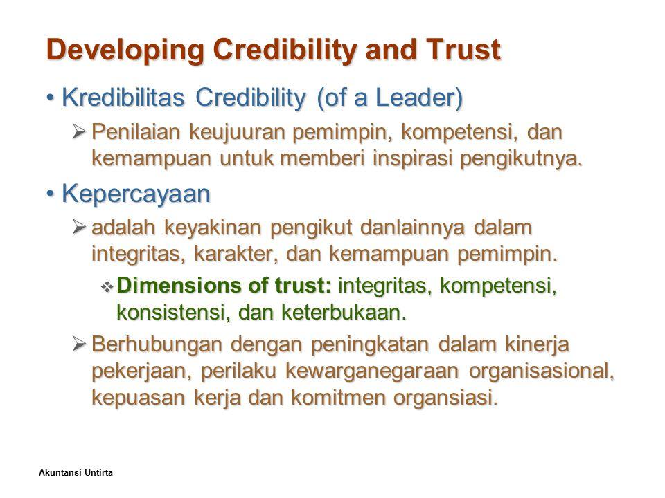Akuntansi-Untirta Developing Credibility and Trust Kredibilitas Credibility (of a Leader)Kredibilitas Credibility (of a Leader)  Penilaian keujuuran