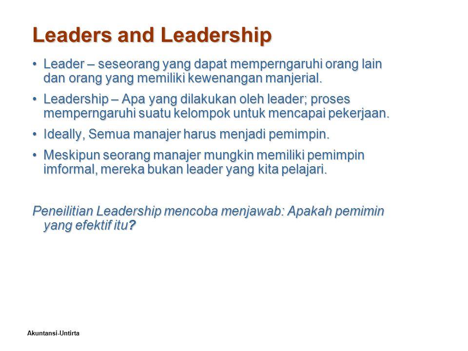 Akuntansi-Untirta Leaders and Leadership Leader – seseorang yang dapat memperngaruhi orang lain dan orang yang memiliki kewenangan manjerial.Leader –