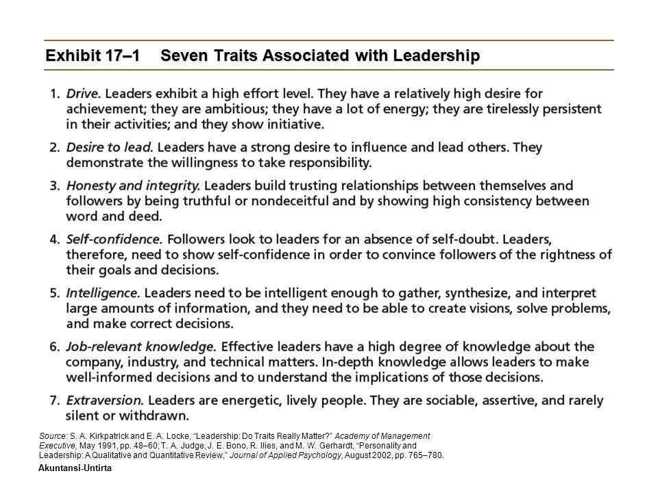 Akuntansi-Untirta Early Leadership Theories (cont'd) Teori PerilakuTeori Perilaku  University of Iowa Studies (Kurt Lewin)  Mengidentifikasi tiga gaya kepemimpinan: –Autocratic style: Kewenangan terpusat, partisipasi rendah –Democratic style: keterlibatan, partisipasi tinggi, umpat balik.