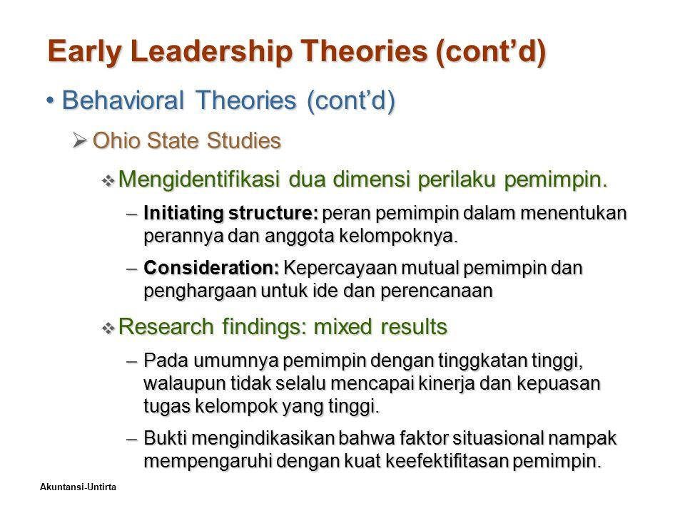 Akuntansi-Untirta Early Leadership Theories (cont'd) Behavioral Theories (cont'd)Behavioral Theories (cont'd)  University of Michigan Studies  Identified two dimensions of leader behavior –Orientasi karyawan: menekankan hubungan karyawan.