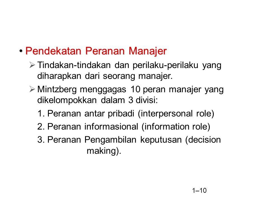 1–10 Pendekatan Peranan ManajerPendekatan Peranan Manajer  Tindakan-tindakan dan perilaku-perilaku yang diharapkan dari seorang manajer.  Mintzberg