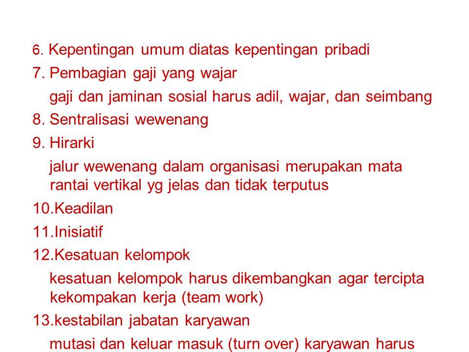 6. Kepentingan umum diatas kepentingan pribadi 7. Pembagian gaji yang wajar gaji dan jaminan sosial harus adil, wajar, dan seimbang 8. Sentralisasi we