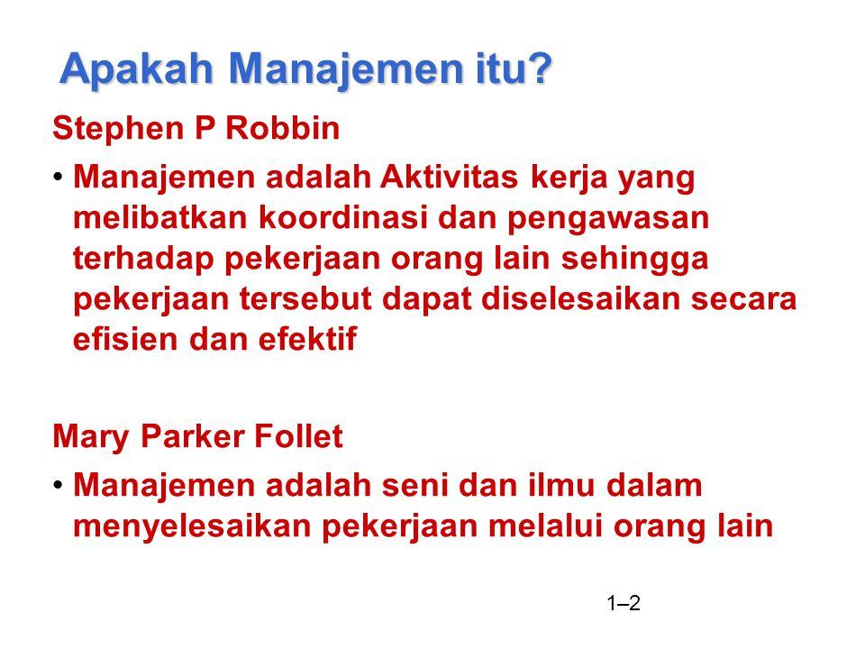 1–2 Apakah Manajemen itu? Stephen P Robbin Manajemen adalah Aktivitas kerja yang melibatkan koordinasi dan pengawasan terhadap pekerjaan orang lain se