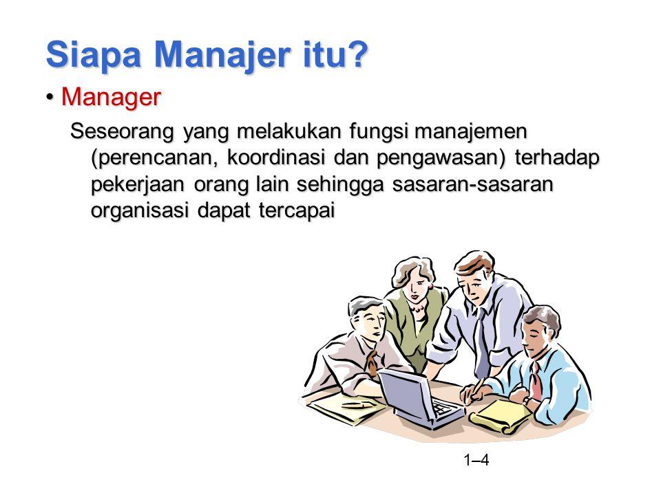 1–4 Siapa Manajer itu? ManagerManager Seseorang yang melakukan fungsi manajemen (perencanan, koordinasi dan pengawasan) terhadap pekerjaan orang lain