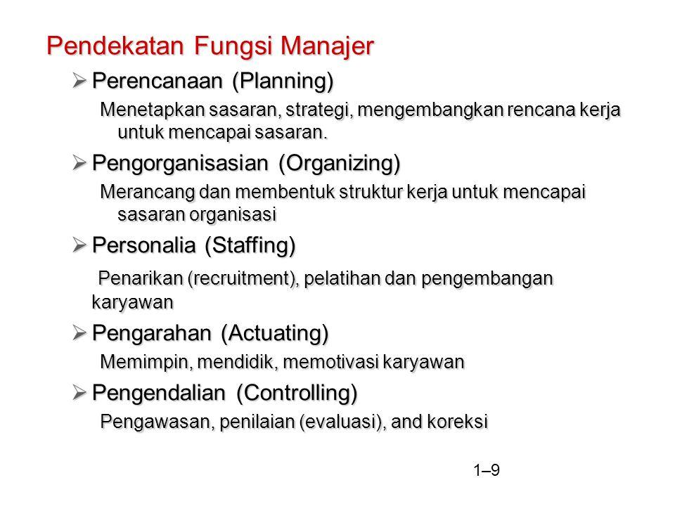 1–9 Pendekatan Fungsi Manajer  Perencanaan (Planning) Menetapkan sasaran, strategi, mengembangkan rencana kerja untuk mencapai sasaran.  Pengorganis