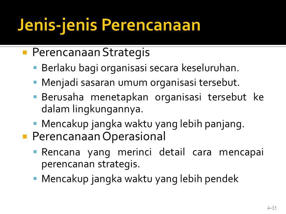  Perencanaan Strategis  Berlaku bagi organisasi secara keseluruhan.  Menjadi sasaran umum organisasi tersebut.  Berusaha menetapkan organisasi ter
